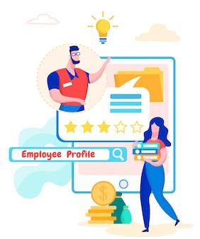 Profil d'employé. homme et femme évalue le travail.