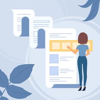 Profil féminin choisissant une activité en ligne