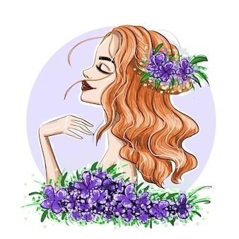 Profil de fille aux cheveux ondulés rouges et fleurs