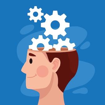 Profil de l'homme de la journée de la santé mentale et machines engrenages