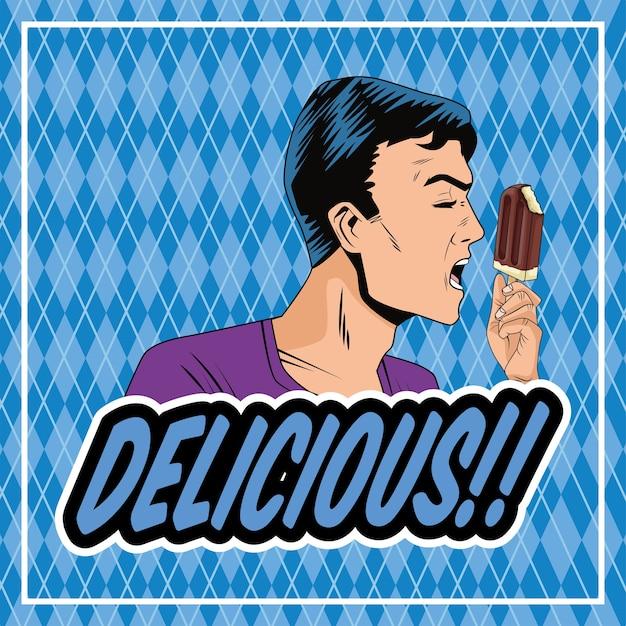 Profil de l'homme mangeant de la crème glacée dans le personnage de style pop art bâton