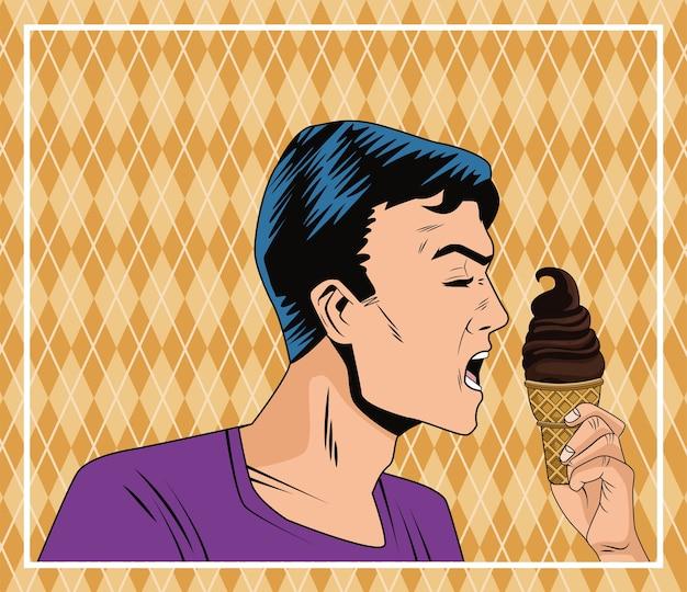 Profil de l'homme mangeant de la glace dans le personnage de style pop art crème cône