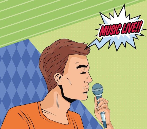 Profil de l'homme avec microphone et musique live word pop art style charactervector illustration design
