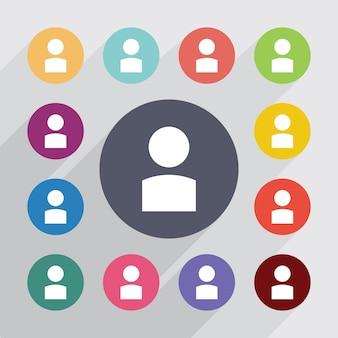 Profil, jeu d'icônes plat. boutons colorés ronds. vecteur