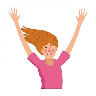 Profil de jeune femme heureuse