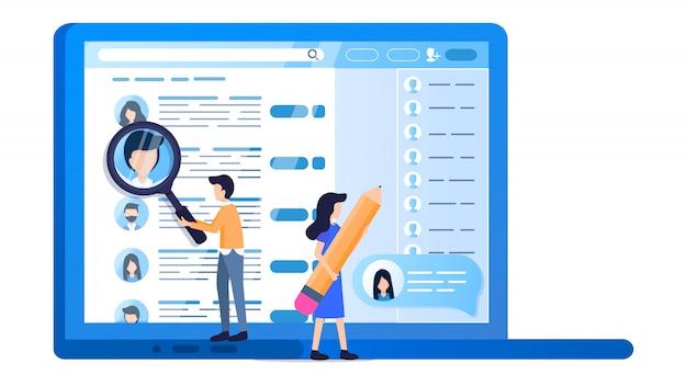 Profil de médias sociaux écran d'ordinateur portable recherche en ligne