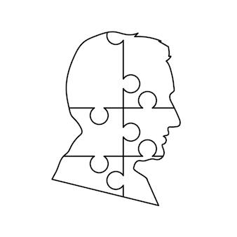 Profil noir détaillé du visage de l'homme composé de six pièces de puzzle isolées sur blanc
