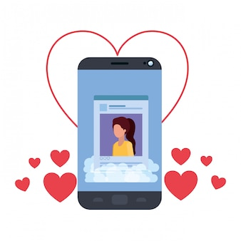 Profil de réseau social féminin avec coeurs