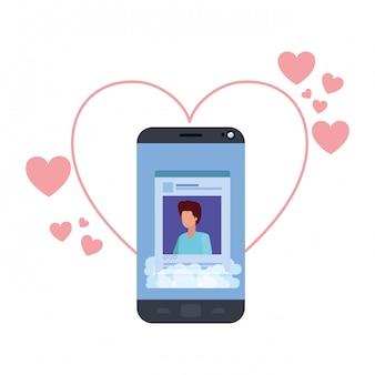 Profil de réseau social d'hommes avec des coeurs