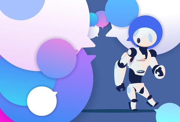 Profil robot nouvelle idée chat support bulles backgroung intelligence artificielle icône de dessin animé pleine longueur