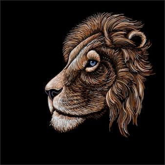 Profil de tête de lion dessin à la main