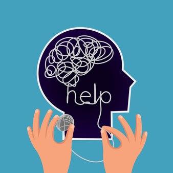 Profil de tête avec des pensées confuses enchevêtrées les mains démêlent le nœud