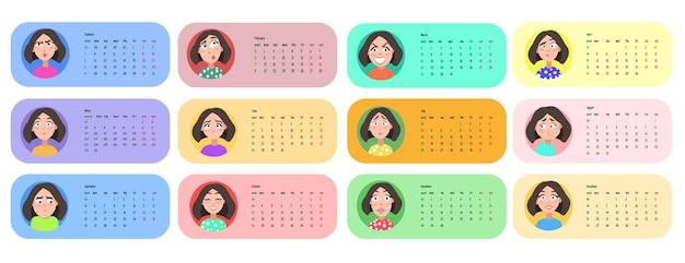 Profil d'utilisateur féminin. calendrier 2021 pour 12 mois. illustration vectorielle.