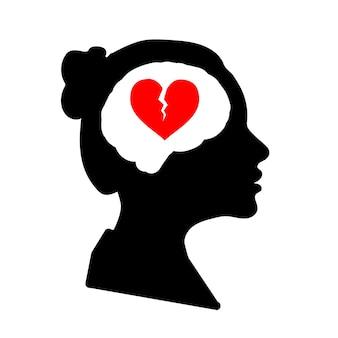 Profil de visage de femme détaillé noir avec coeur brisé rouge dans le cerveau isolé sur blanc
