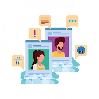 Profils de réseaux sociaux avec bulle de dialogue avatar