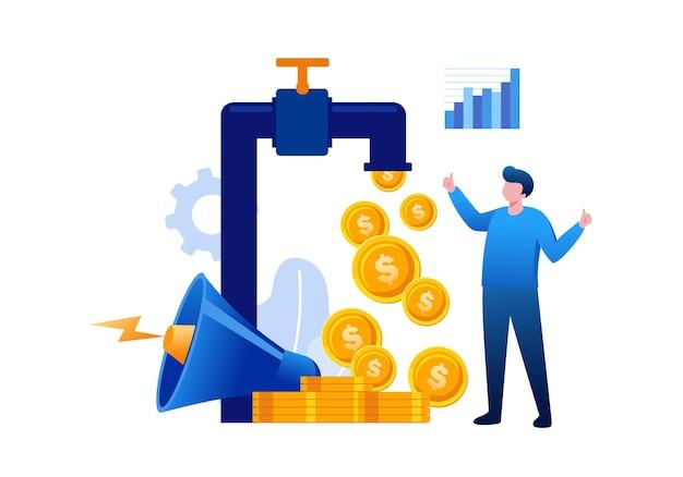 Profiter des revenus de l'argent des entreprises. concept de stratégie marketing. vecteur plat d'illustration de page de destination