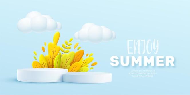 Profitez de l'arrière-plan réaliste 3d d'été avec des nuages, de l'herbe, des feuilles et un podium de produits