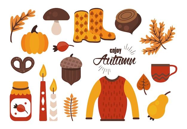 Profitez du lettrage d'automne avec des icônes de jeu de paquets.