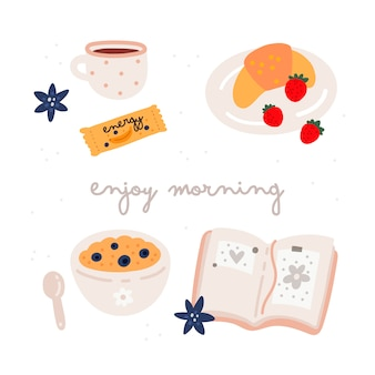 Profitez de l'ensemble du petit-déjeuner le matin. illustration dessinée à la main avec de la nourriture isolée sur blanc