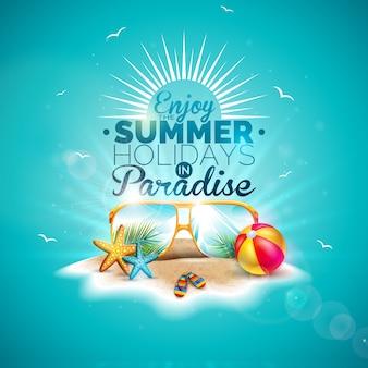 Profitez des vacances d'été avec des lunettes de soleil sur bleu océan