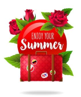 Profitez de votre affiche d'été avec des roses et des valises. texte calligraphique sur un cercle rouge