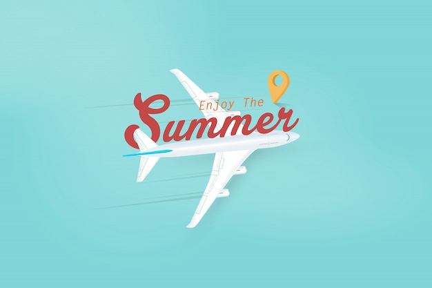 Profitez des voyages de saison en avion. illustration vectorielle