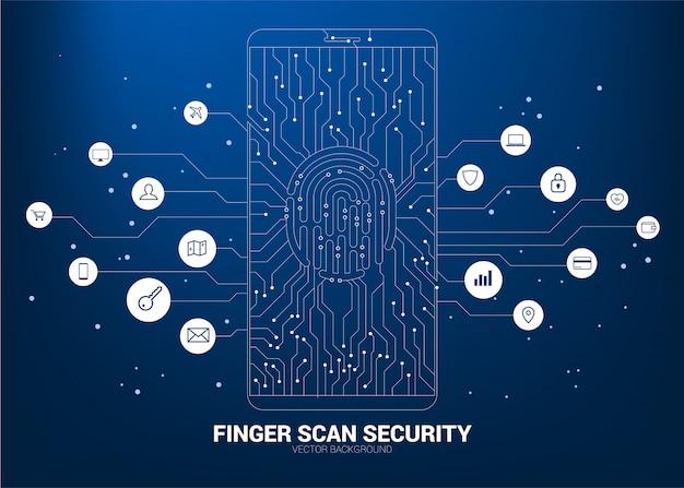 Programmation de développement d'applications pour téléphones mobiles avec fond de ligne de circuit