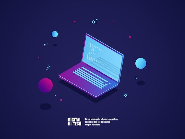 Programmation du concept de développement d'applications et de logiciels, ordinateur portable avec code de programme