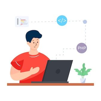 Programmation web dans la conception vectorielle modifiable d'illustration plate
