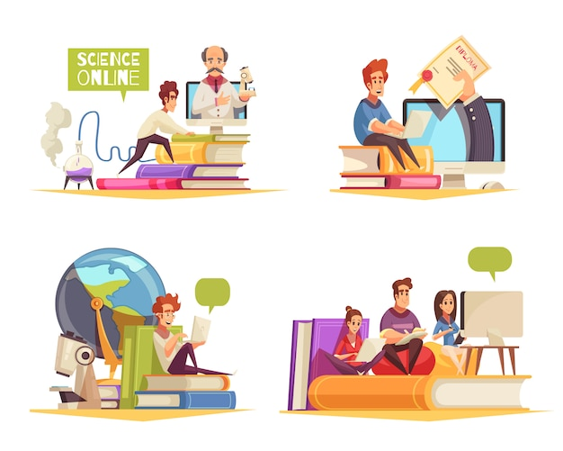 Programme de cours en ligne à distance d'apprentissage à domicile obtenant un diplôme universitaire concept 4 compositions de dessin animé isolées