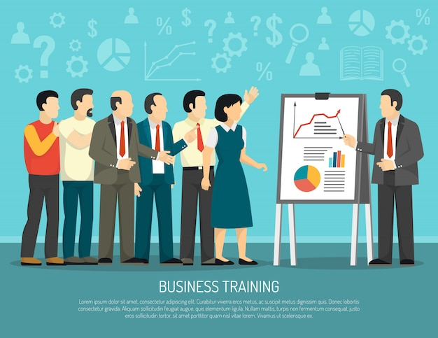 Programme de formation commerciale en classe illustration plate