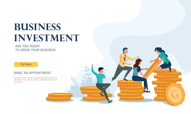Programme d'investissement avec succès avec un concept de design plat