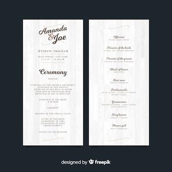 Programme de mariage charmant avec un style élégant