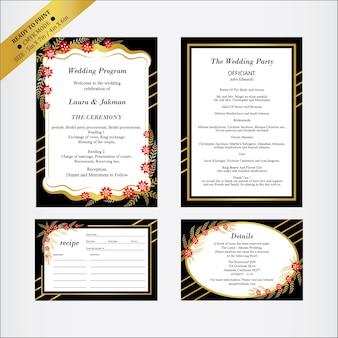 Programme de mariage avec la recette, carte de détails