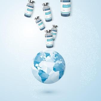 Programme mondial de lutte contre le coronavirus. planète et bouteille volante avec vaccin