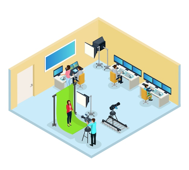Programme de télévision isométrique faisant le concept avec les travailleurs de l'opérateur journaliste édition vidéo et audio isolés