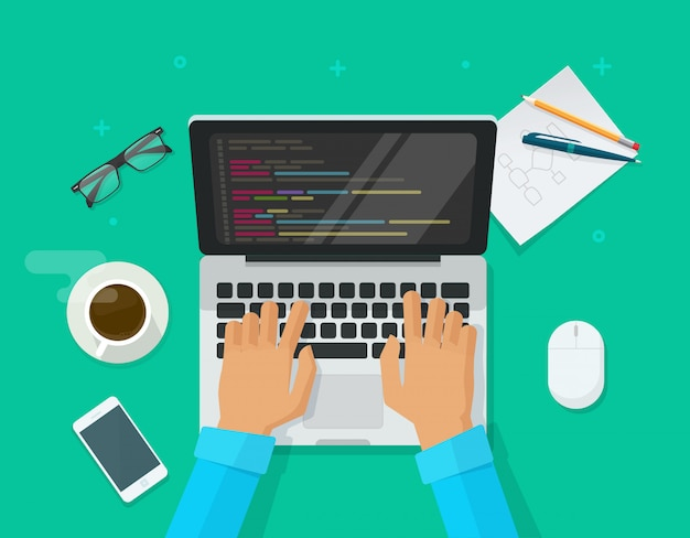Programmeur codant sur un ordinateur portable sur un bureau, une table, une vue, une illustration, un dessin animé, un plat