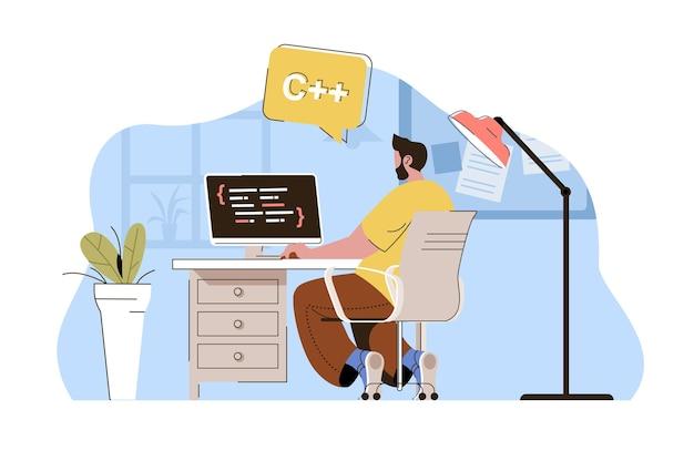 Le programmeur de concept de génie logiciel crée des applications fonctionne sur ordinateur