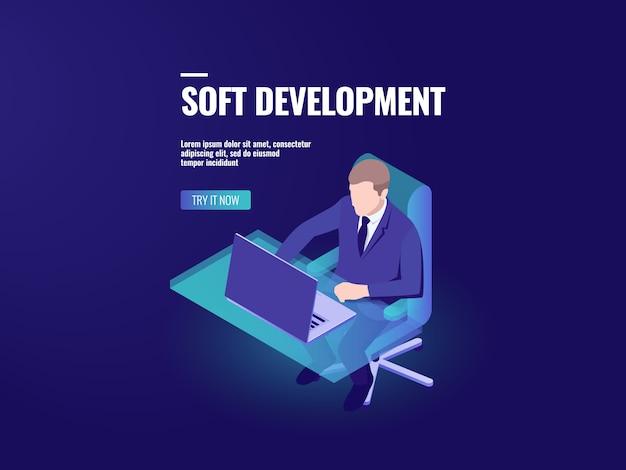 Programmeur développant un logiciel, programmation isométrique, analyse commerciale