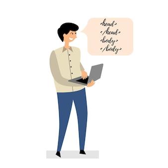 Le programmeur écrit l'ordinateur portable de code