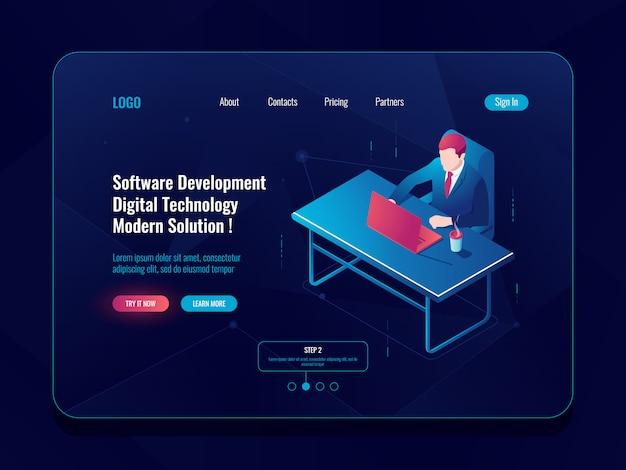 Programmeur et icône isométrique de développement technique, homme assis à une table, développement de logiciels