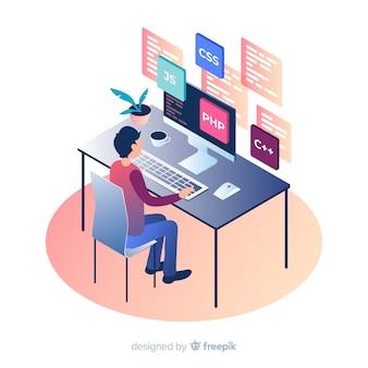 Programmeur isométrique travaillant sur un bureau