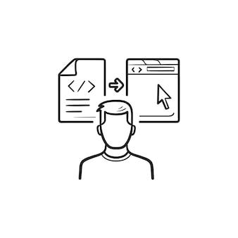 Programmeur et programme de codage icône de doodle contour dessiné à la main. développeur web, concept de programmation de logiciels