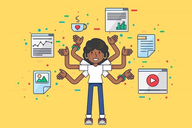Programmeur seo spécialiste des données afro fille multitâche