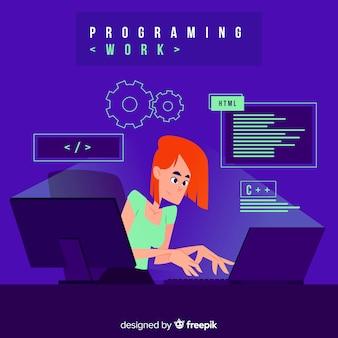 Programmeur de style dessin animé travaillant