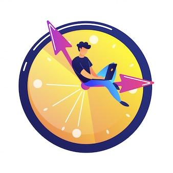 Programmeur travaillant sur ordinateur portable assis sur la main dans une illustration vectorielle de grande horloge.