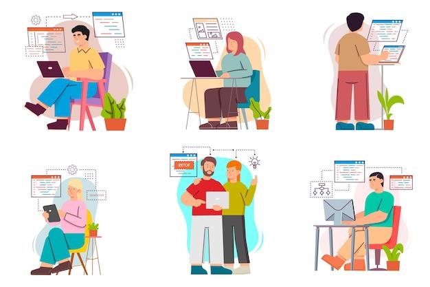 Les Programmeurs De Personnes Travaillent Sur Un Ordinateur Vecteur Premium