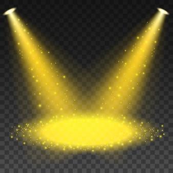 Projecteur brillant avec des paillettes tombant