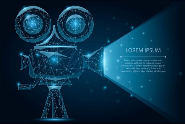 Projecteur de cinéma rétro abstrait polygonale. le temps du film. cinéma, film