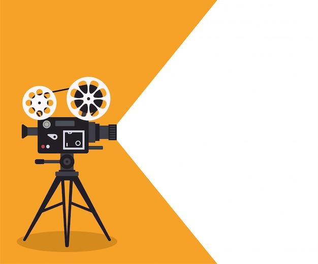 Projecteur de cinéma rétro sur affiche.